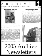 2003 Archive Newsletter Button | Augusta Museum of History